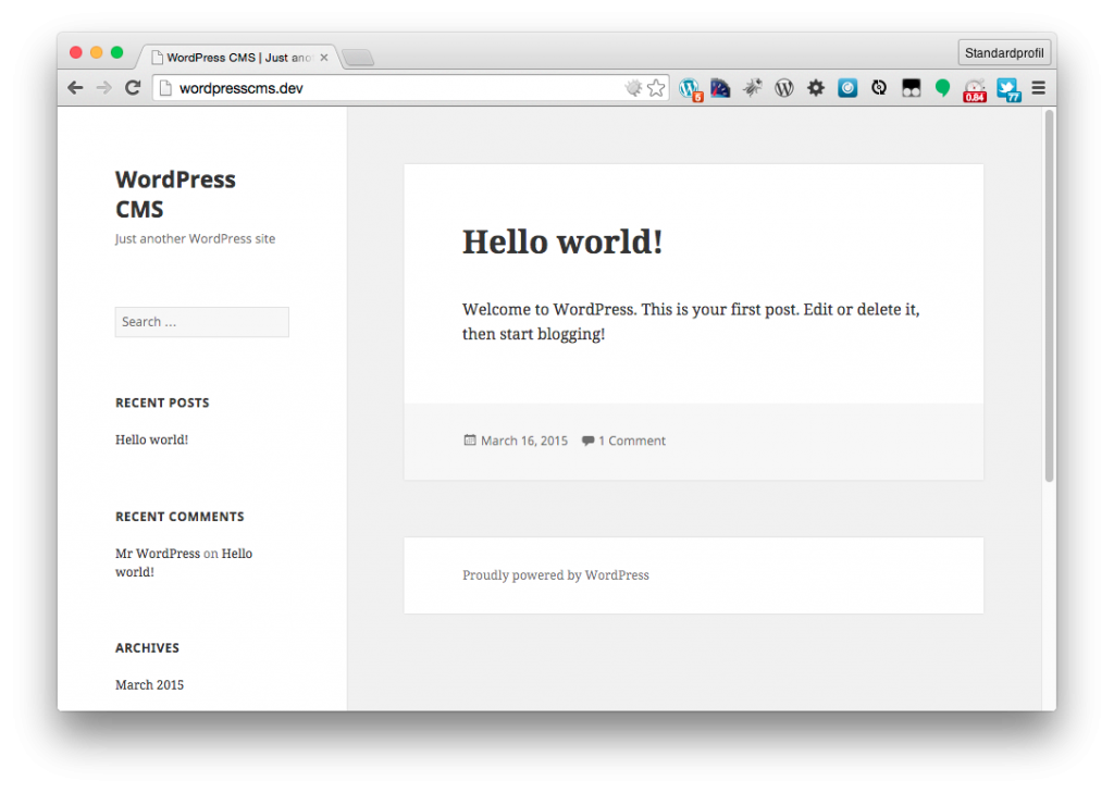WordPress CMS dev site